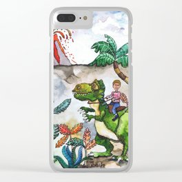 Dinosaur Rider Clear iPhone Case