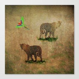 Parrot Flight Through Leopards Canvas Print