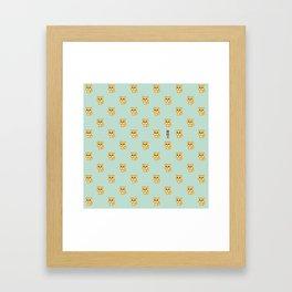 Hachikō, the legendary dog pattern (Green) Framed Art Print