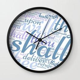 Psalm 91 Word Art Wall Clock