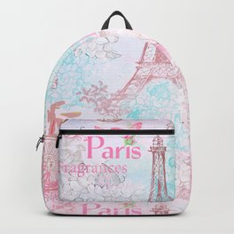 I love Paris - Vintage  Shabby Chic in pink - Eiffeltower France Flowers Floral Backpack