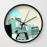 karen hallion Wall Clocks featuring Karen form Chicks & Wheels by Simone Massoni