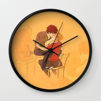 grantaire Wall Clocks featuring Drink with me by Marta Milczarek