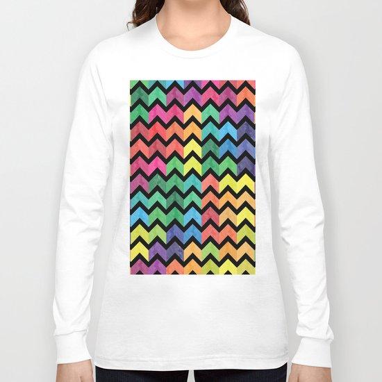 Watercolor Chevron Pattern V Long Sleeve T-shirt