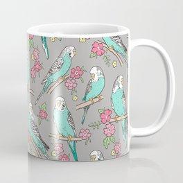 Budgie Birds With Blossom Flowers on Grey Coffee Mug