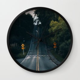 road, marking, rise, sign Wall Clock