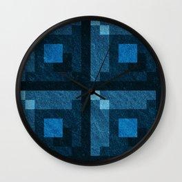 Blue Green Pixel Blocks Wall Clock
