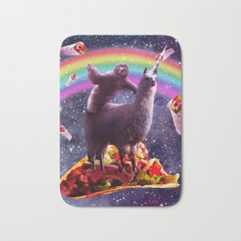 Space Sloth Riding Llama Unicorn - Taco & Burrito Bath Mat