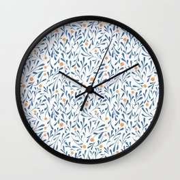 Winter Blossom blue Wall Clock