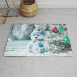 Snowman winter snow Christmas New Year cute toy Rug