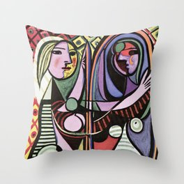 Pablo Picasso Girl before a Mirror 1932 Artwork Reproduction, Tshirts, Prints, Poster, Bags, Men, Wo Throw Pillow