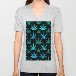 Marijuana Teal Turquoise Weed Unisex V-Neck