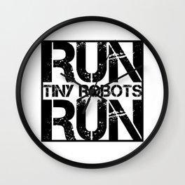 Run Tiny Robots Run Nerd Electrical Engineer Computer Programmer Wall Clock