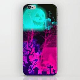 Glowing Pumpkin and Haunted Halloween Barn iPhone Skin