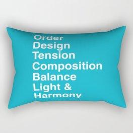 Order, design, tension, composition, balance, light and harmony. Rectangular Pillow