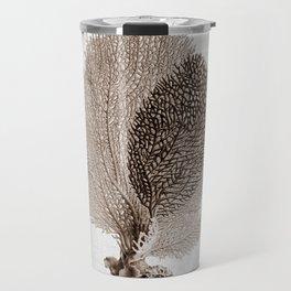 Brown Sea Fan Coral Illustration Nautical Decor Travel Mug