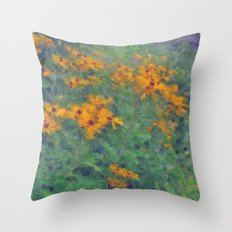Impressionist Field of Flowers Throw Pillow