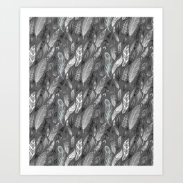 Falling Feathers on a Grey Day Art Print