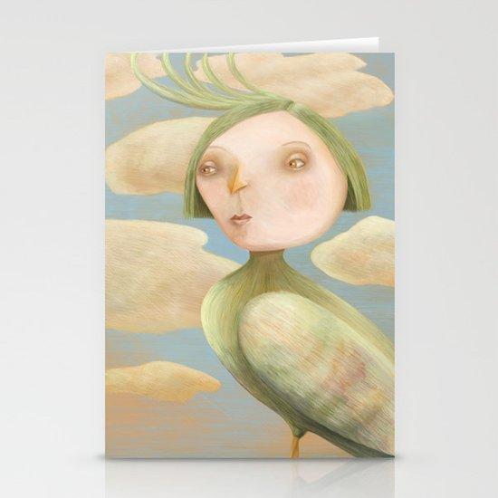 Green Crested Ladytoo Stationery Cards