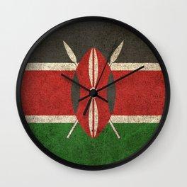 Old and Worn Distressed Vintage Flag of Kenya Wall Clock