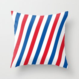 Blue, white and red stripes pattern Throw Pillow