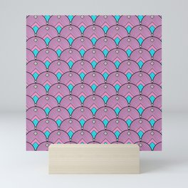 Purple Pastels Art Deco Fan Pattern Mini Art Print