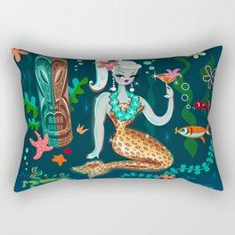 Blonde Leopard Martini Mermaid Rectangular Pillow
