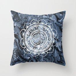 White Acacia on Liquid Silver Throw Pillow