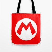 nintendo Tote Bags featuring Nintendo Mario by JAGraphic