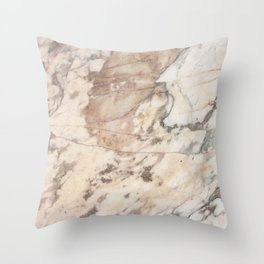 Polished Rose Marble Slab Throw Pillow