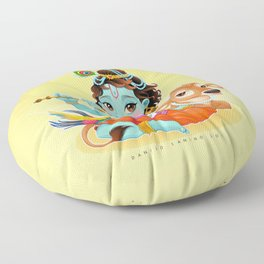Baby Krishna with sacred cow Floor Pillow