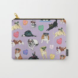 Valentine's Day Candy Hearts Puppy Love - Purple Carry-All Pouch