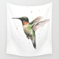 ruby Wall Tapestries featuring Hummingbird Watercolor | Ruby Throated by Olechka