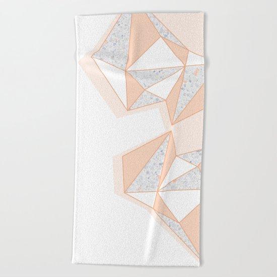 Geometric Nude Color Terrazzo Abstract Design Beach Towel