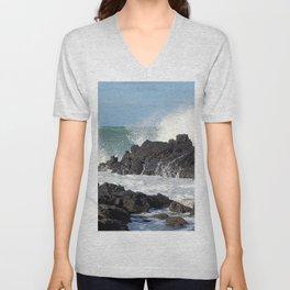 The waves of the Jeju sea crashing on the rocks , Jeju Island, Korea. Unisex V-Neck
