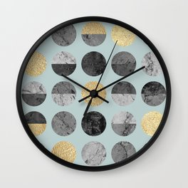 Marble and gold circles pattern III Wall Clock