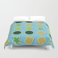 stickers Duvet Covers featuring Shapes stickers by laly_sb