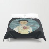 frida kahlo Duvet Covers featuring Frida Kahlo by Chris Talbot-Heindl