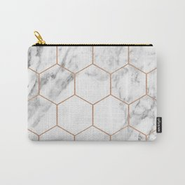 Rose gold marble hexagons honeycomb pattern Carry-All Pouch