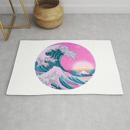Vaporwave Great Wave Aesthetic Sunset Rug