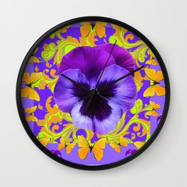 PURPLE PANSIES YELLOW BUTTERFLIES ABSTRACT FLORAL Wall Clock