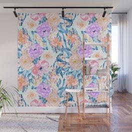 Modern watercolor garden floral paint Wall Mural