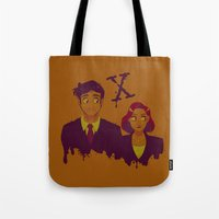 dana scully Tote Bags featuring Mulder And Scully by Sutexii
