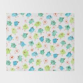 Scribble Birds Throw Blanket