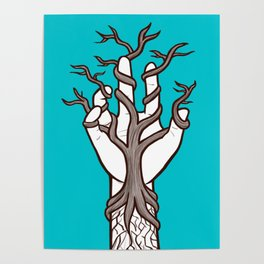 Bare tree growing within a hand – interlacing of nature and humanity Poster
