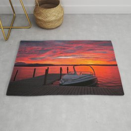 Motorboat At Jetty At Magnificent Sunset Evening Red Ultra HD Rug