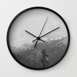 The Mountains of California- Black & White Wall Clock