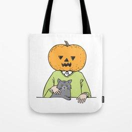 Pumpkinhead & cat Tote Bag