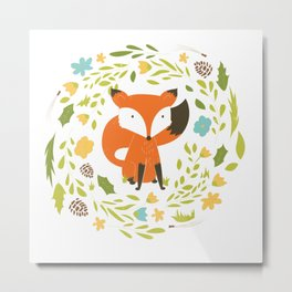 Woodland Fox illustration with cute floral wreath Metal Print