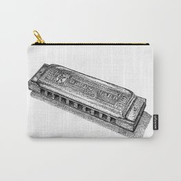 Harmonica in Black and White Dot Art Carry-All Pouch